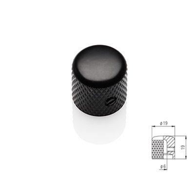 Flat Dome Knob - Black Satin